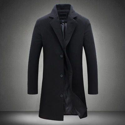 Men's Warm Trench Jacket Long Overcoat Winter Casual Coat Wool Slim Outwear Cozy