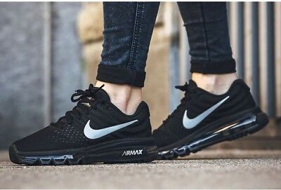 reputable site 504d6 36b42 Nib Womens Nike Air Max 2017 Black Anthracite Athletic Running Shoes