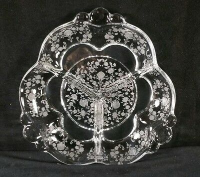 "Vintage 1930s - 1940s Duncan Miller First Love Etched Glass Relish Dish 8.2"" EXC"