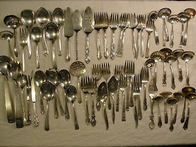65 Pc Nice Silver Plate Serving Catering Restaurant Wedding, Ladle Flatware Lot