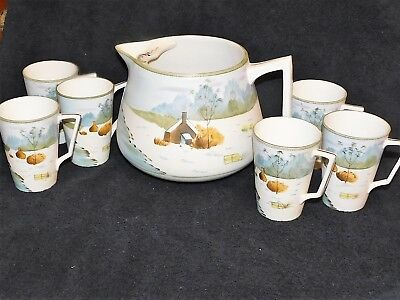 Beautifully Hand Painted Antique Nippon 7 Piece Lemonade Set Grt Condition!!
