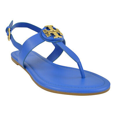 3143ed5032e NIB TORY BURCH Bryce Leather Flats Thong Sandals Galleria Blue 7-9 ...