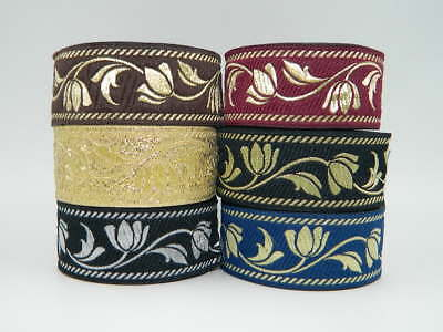 10m Jacquard Ribbon//Trim Roses  33mm width Various colours available