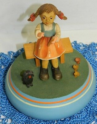 Old Reuge Music Box Made In Switzerland Plays Edelweiss ~Girl & Dog~ Plays Well!