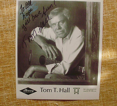 TOM T. HALL signed 8x10 publicity still '90s the country western Hall of Famer!