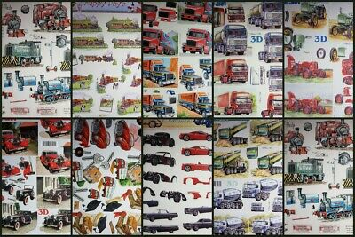 3D A4 Paper Tole Decoupage Train Truck Tractor Themes for Men's Cards