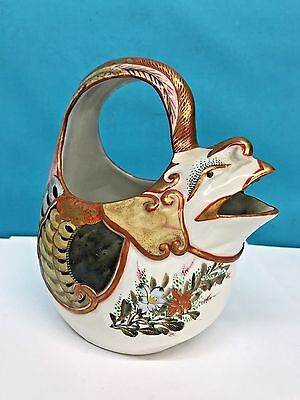Antique Japanese Porcelain Chicken Vase Hand Painted