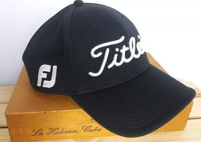 Titleist FootJoy FJ Pro V1 Adjustable Black Baseball Golf Cap Hat Stretch 3e2c71da60f