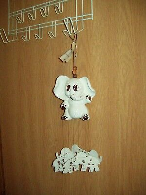 Vintage Porcelain Elephant Wind Chimes American made MusiChimes with hang tag
