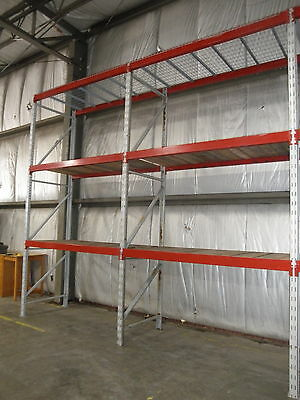 4 Sections 14' Tall Pallet Racking with Two Shelves/Wire Decking...