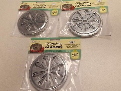 12 - Galvanized Metal Daisy Wide Mouth Lid Inserts for Mason Jar 12 Pack
