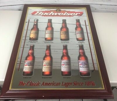 "Budweiser Beer Through The Ages Wood Framed Mirror Bar Sign Large 30X22"" RARE"