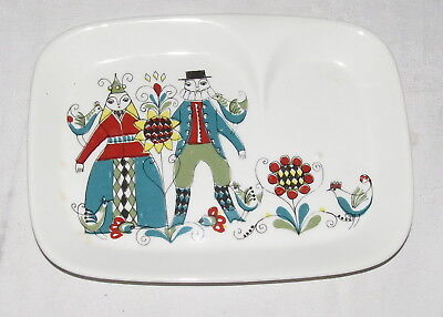 """Figgjo Saga Norse 8.7/8"""" x 6.1/2"""" two-sections Dish Tray Snack Plate"""