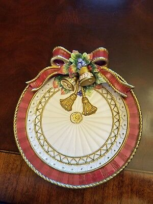 "Fitz Floyd Christmas Plate Bells, Bow 9 1/4"" ribbon, Christmas Deer"