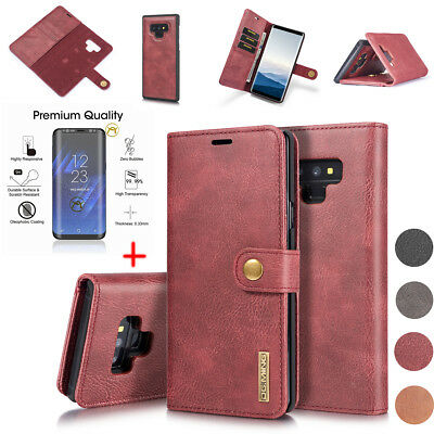 Men's Genuine Leather Wallet Case Cover +Glass Film for Samsung Note 9 S9 S8 S7