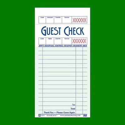 Guest Check Book of 50 Checks - G3616SCC Single Paper Green Bond - 4 pack - FS!