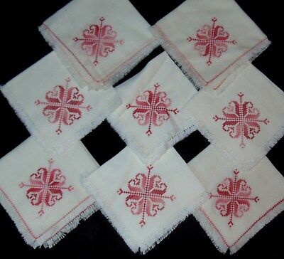 8 Vintage Hand Embroidered Cloth Napkins Red Pink Peach