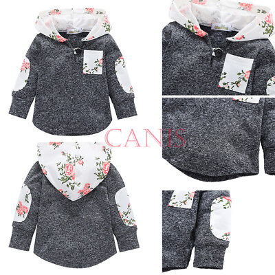 Floral Gray Toddler Baby Kid Boys Girls Hooded Tops Jacket Coat Outerwear Casual