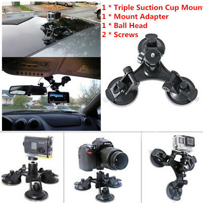 Car Camera Mount Holder Low Angle Triple Suction Cup For Gopro 2 3+ 4 with Cable