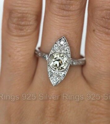 Antique Vintage Diamond 14k White Gold Over Filigree Navette Art Deco Ring 1905