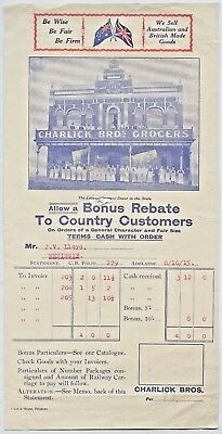 1915 Charlick Brothers Grocers Pictorial Letterhead Cant & Stone Printers R50