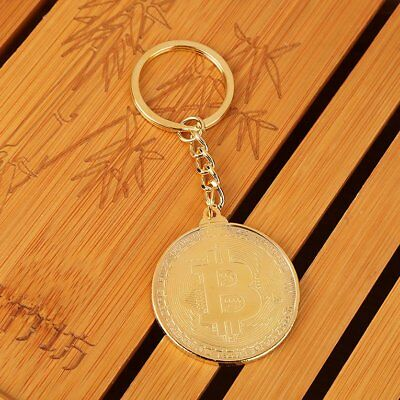 Golden Plated Bitcoin Round Commemorative Coin Pendant Keyrings LO