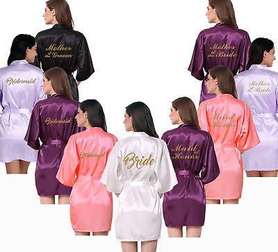 Bridal Party BRIDE and BRIDESMAID Gold Glitter Print Robes Gowns. Personalised