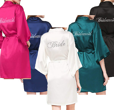 Bridal Party BRIDE and BRIDESMAID Diamante Detailing Robes Gowns. Personalised
