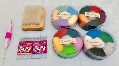 Felting Needle/Brush & 2 x Roving Wool