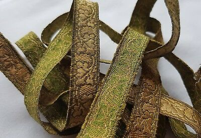 Vintage Gold Metallic Trim Repeating Ivy Design Green Back  French