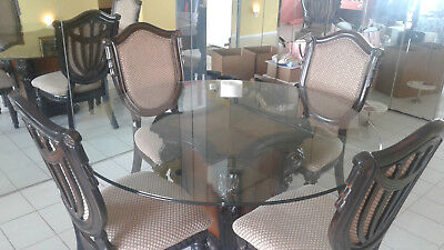 Dining Table & 4 Chairs, Wood and Glass, Great Condition - Local pickup Miami