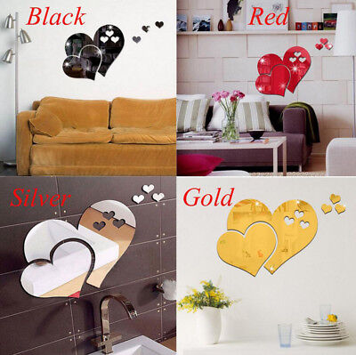 3D Mirror Love Hearts Wall Sticker Decal DIY Home Room Art Mural Decor Removable