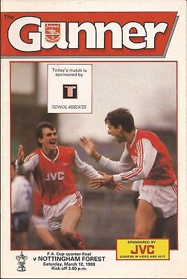 Football Programme - Arsenal v Nottingham Forest - FA Cup 1/4 Final - 12/3/1988