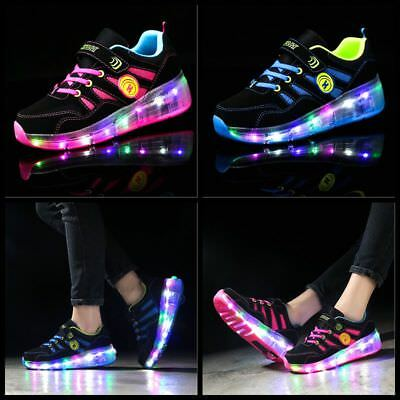UK Flash Skates Shoes Kids Girls Boys Skate LED Shoes Size Light Up Heelys Shoes