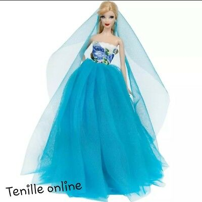 New Barbie doll clothes outfit princess wedding gown dress blue and shoes x1