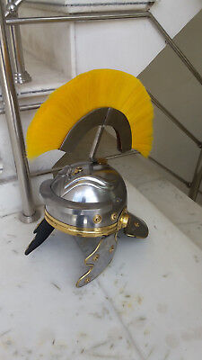 Medieval Ancient Greek Roman Helmet Antique Finish Yellow Plume Replica Item