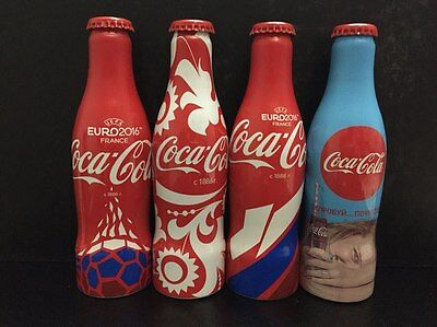 4 (four) empty aluminum bottles of Coca-Cola Euro 2016 UEFA France from Russia