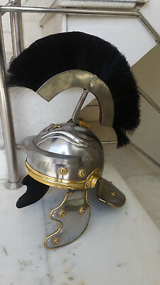 Medieval Roman Ancient Greek Roman Helmet Antique Finish Black Plume Replica