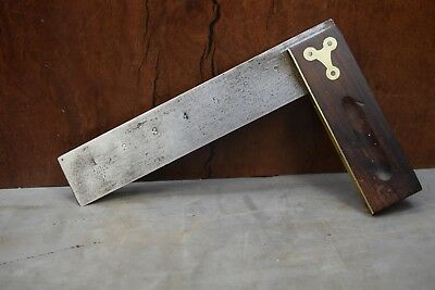 Antique Stanley Brass And Rosewood 9 Inch V Logo Square Woodworking Old Tool