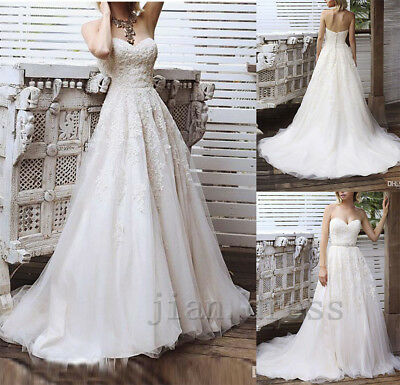 Vintage Lace Beach Wedding Dress Formal Long A-Line Sweetheart Bridal Ball Gowns