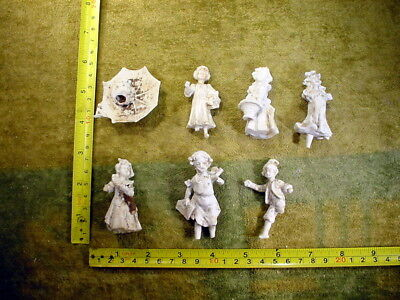 """7 x excavated vintage damaged bisque Doll parts 2-3 """" age 1890 altered Art 11369"""