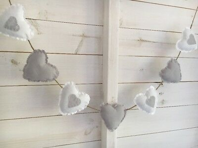 Handmade Fabric Shabby Chic Heart Wedding Nursery Bunting. White Grey