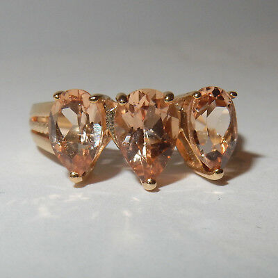 Bague ancienne vintage Or Topazes Imperiale 3.80 Carats T 58-59 Gold Ring Topaz