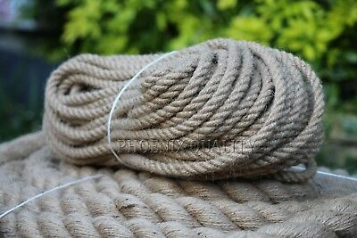 6mm Thick Natural Jute Hessian Rope Cord Twine Braided Twisted Boating Garden