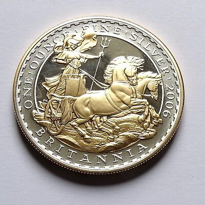 2006 ROYAL MINT BRITANNIA ON  CHARIOT TWO POUND .958 SILVER GOLD PROOF 1oz COIN