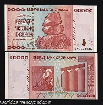 Zimbabwe 20 Trillion Dollars 2008, P-89, UNC, Replacement ZA Currency Money Note