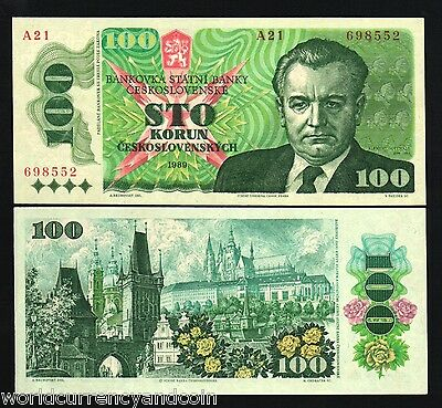 Czechoslovakia 100 Korun P97 1989 Gottwald Unc Colorful Euro Currency Money Note