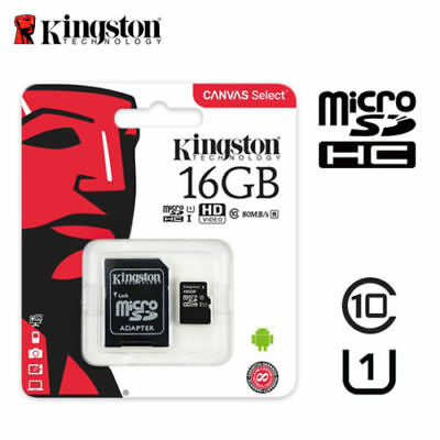 Kingston 16 GB Micro SD SDHC Memory Card Class 10 with SD Card Adapter