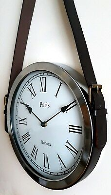 NEW - WALL CLOCK Brown Leather Belt Strap Hanging Metal