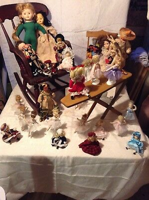 Antique Kid's Children Wooden Rocking Chair & Vintage/Antique doll Lot & furnitu
